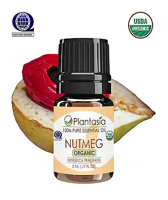 Nutmeg Certified Organic Essential Oil 5 ML .17 FL OZ fm Sri Lanka by Plantasia
