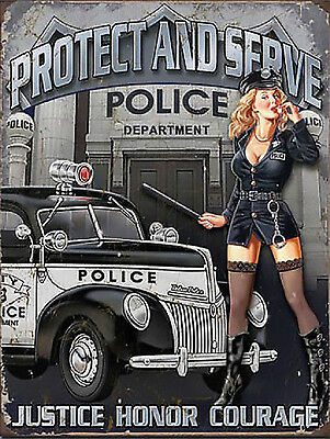 Protect And Serve Police Pin Up, Retro Metal Sign Plaque Man Cave Garage
