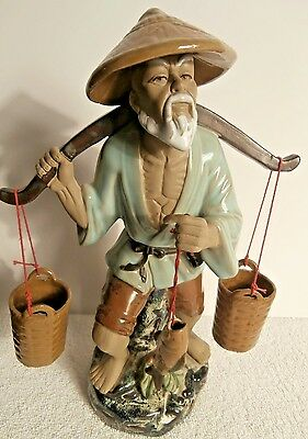 "13"" Chinese Wucai Porcelain Old Fisherman Catch Fish Picul and Barrel"