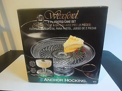 """Anchor Hocking Wexford 2-Piece 12"""" Ftd Dome Cake Set Or Punch Bowl(Mint In Box)"""