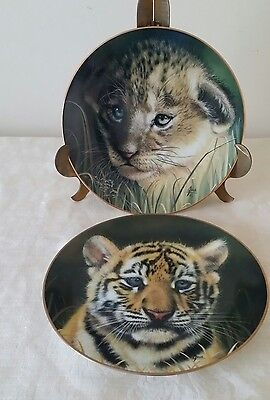 Pair Limited  Big Cat Cub Plates Tiger And Lion Hand Numbered Signed Qua  1991