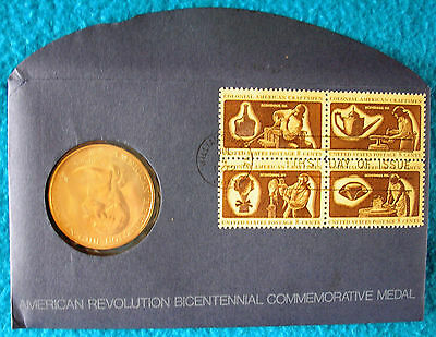 1972 American Revolution Bicentennial Commemorative Medal & 1st day issue stamps