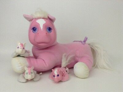 Vintage 1992 Hasbro Toy Pink White Pony Surprise w/ 3 Babies Plush Stuffed Toy