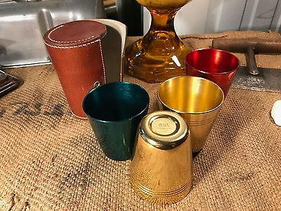 Retro Vintage Australian Hickok Anodised Beakers in Leather Holder