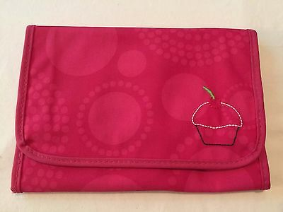 Thirty-One Fold-And-Go Organizer With Notepad - Pink Circle Spiral w/Cupcake