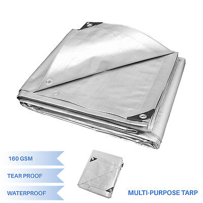 Silver Heavy Duty Multi-purpose Waterproof Poly Tarp Cover Tent Shelter Camping