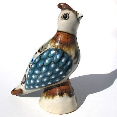 Quail Bird Figurine Tonala Mexico Ken Edwards Pottery Ceramic KE Blue Brown