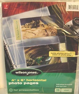 """Photography CLEAR PHOTO PAGES 4"""" x 6"""" Horizontal WILSON JONES Pack 10 NEW #21460"""