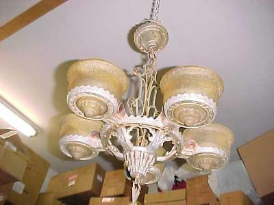 Art Deco Slip Shade 5 Light  Ceiling Fixture with All 5 Shades