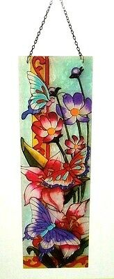"""New 22"""" STAINED GLASS Mosaic Wall Window Hanging BUTTERFLIES LILLIES FLOWERS"""