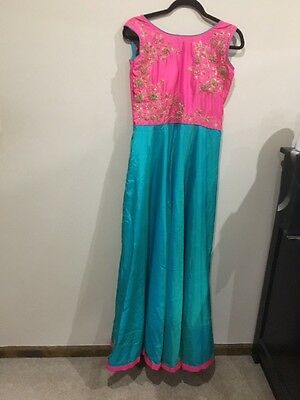 New Indian Semi Silk Stitched Party Wear Gown with Zardosi Embroidered Work