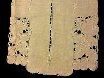 "Early 1930's Richelieu Cute Embroidery Unbleached Linen Runner 42"" x 13 1/4"""