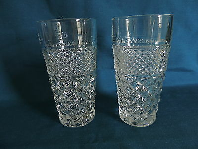 """2 Vintage Anchor Hocking Large WEXFORD 6 1/4"""" Crystal Clear 16 oz Glass Tumblers"""