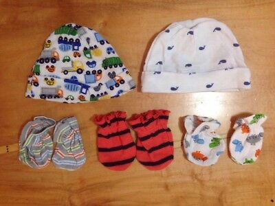 Lot Of Baby Hats And Mittens Size 0-3 Months