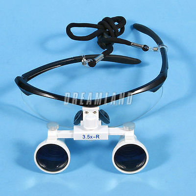 Dental Surgical Medical Binocular Loupes 3.5X 420mm Optical Glass Black USA
