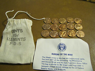 1973 P D S US Mint Souvenir Penny Bag 5P 5D 5S US Mint Cents 15 Coins Total
