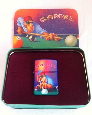 1993-New Zippo Lighter In Camel Shooting Pool Tin Collector Item