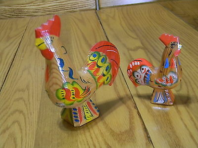 Two Wood Hand Carved Folk Art  Made In Sweeden Rooster Figurines - 6.5 & 4.5 In