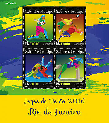 Sao Tome & Principe 2016 MNH Rio 2016 Summer Olympics 4v M/S Judo Rugby Stamps