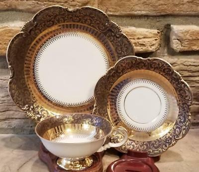 Eberthal Bavaria Gold Scalloped Trio Plate Footed Cup & Saucer Dessert Set 22k