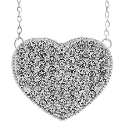 "16"" 18K White Gold Necklace w/ Heart Design & Clear Crystals by Matashi"