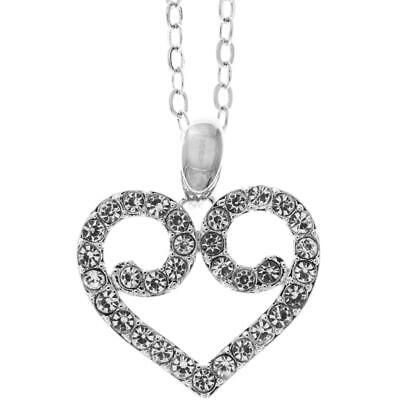 "16"" 18K White Gold Necklace w/ Heart Crystal Design & Clear Crystals by Matashi"