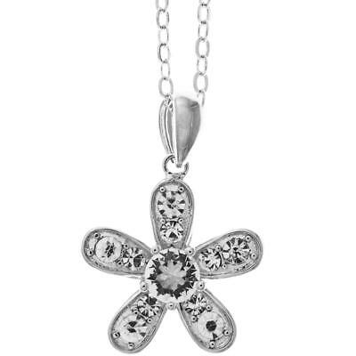 "16"" 18K White Gold Necklace w/Petalled Flower Design & Clear Crystals by Matashi"