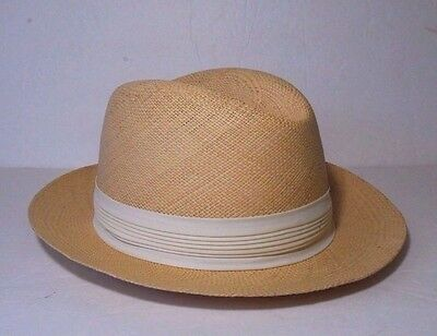 Vintage ADAM Fedora Blonde Straw Hat with Ivory Pleated Band Size XL