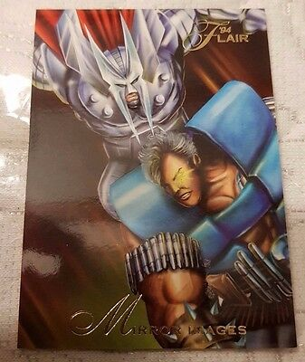 Marvel Flair #97 MIRROR IMAGES CABLE vs STRYFE 1994 Flair Trading Card