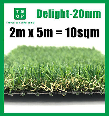 Delight-20mm 4 Tone Artificial Grass Synthetic Turf Lawn Carpet 2m x 5m=10sqm