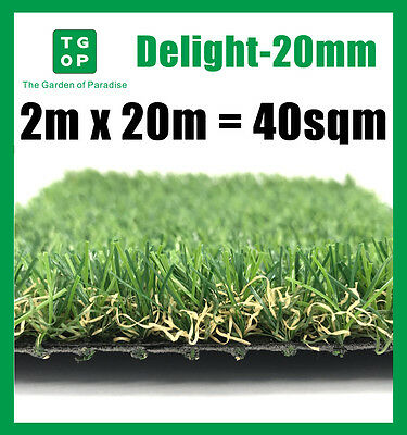 Delight-20mm 4 Tone Artificial Grass Synthetic Turf Lawn Carpet 2m x 20m=40sqm