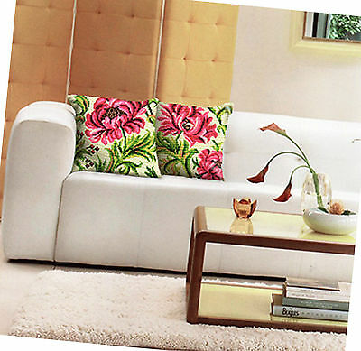 Che Floral- 2 Designs To Stitch 40Cm Sq, 5Ct Color Printed Tapestry Cushion Kits