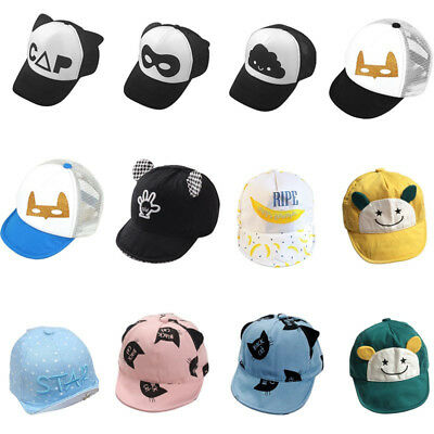 Kids Boys Girls Caps Hip-Hop Cartoon Baseball Cap Baby Toddler Sunhat Cotton Hat