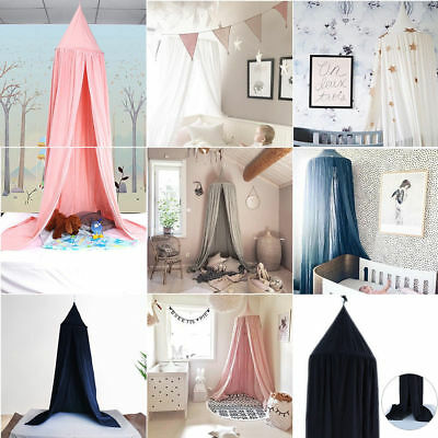 Kids Bed Crib Canopy Round Dome Cotton Linen Mosquito Net Bedding Curtain Decor