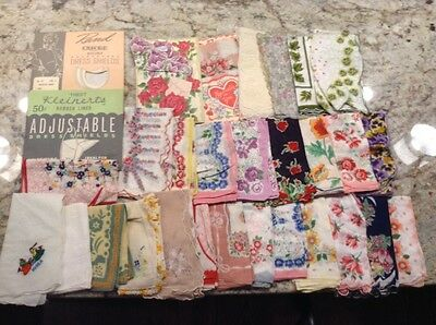 28 Vintage Ladies Handkerchiefs Floral Cotton Scalloped + Dress Shields