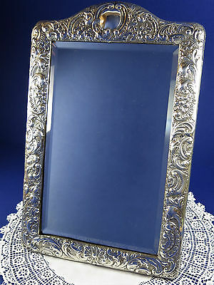 Beautiful Antique Sterling Silver Dressing Table Mirror ~ Birmingham 1899