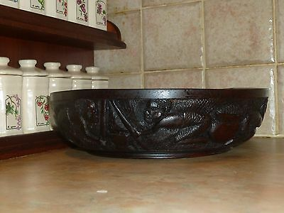 Vintage African Hand Made Carved Ebony Wood Bowl  Decor Rustic Art Ethnic Tribal