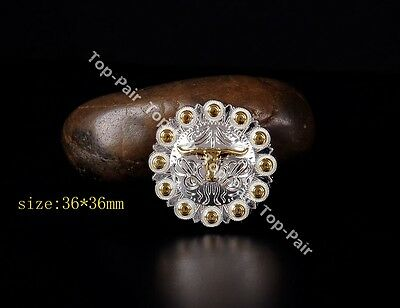 5pcs 32*32mm WESTERN COWBOY HORSE SADDLE  BLING SILVER BERRY ROPE SIDE CONCHO