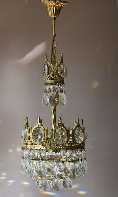 Chic Pendant Antique French Vintage Crystal Chandelier Old Lamp 1950's Lighting