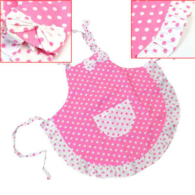 Children Child Kids Baking Party 2 Layers Cloth Polka Dots Princess Apron Girl