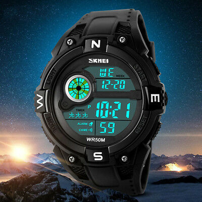 Herren Sport Uhr Armee Armbanduhr Wasserdicht Digital LED Uhren Mens Watch