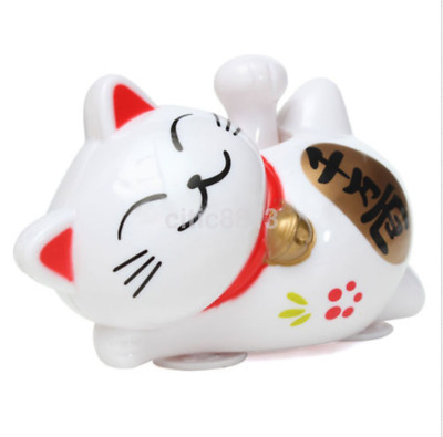 Cute Solar Powered Lucky Cat Waving Beckoning Fortune Cat Car Decor US