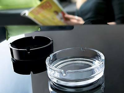 Stackable Glass Ashtray Clear/ Black Work Pub Bar Smoking Party Cigarette Tray