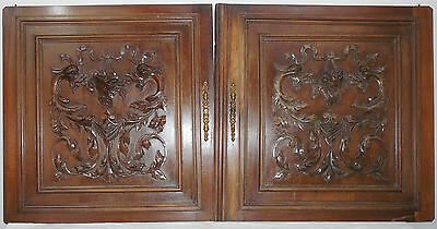 pair  antique FRENCH wood  panel  carved gothic chimeras