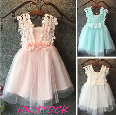 UK Baby Dress Party Lace Tulle Flower Girl Dresses Sundress Girls Wedding Dress