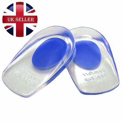 Pair Unisex Silicone Gel Heel Comfort Cup Pad Cushion Insoles Inserts Sole Shoes