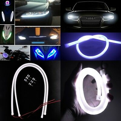 60CM White LED Car DRL Daytime Running Lamp Strip Light Flexible Soft Tube 2x