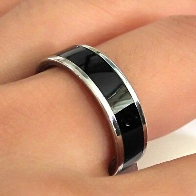 50x Men's Black enamel 6mm band Rings Classic Comfort-fit Stainless Steel Ring