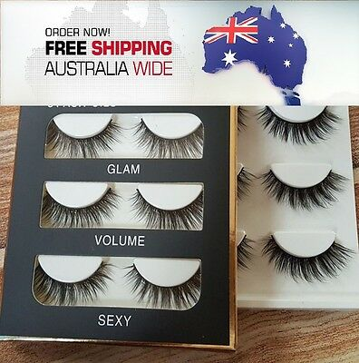 x3 Pairs Huda Luxe Soft Quality Natural Demi Wispy False Eyelashes AUS-SELLER
