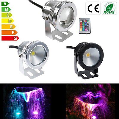 IP68 Waterproof 10W 12V RGB White LED Underwater Spot Light Pond Aquarium Lamp